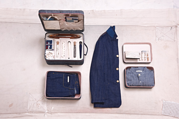 100%-handmade-route-case-with-khadi-denim,-worker-jacket-and-chambray-shirt