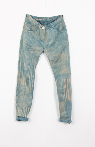 AW13-Image-from-first-few-pairs-of-100%-handmade-khadi-Denim-in-Staccato-block-print